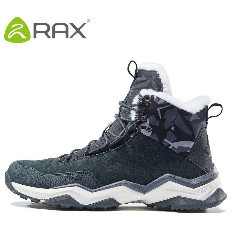 RAX Waterproof Hiking Shoes Men Winter Outdoor Sneakers for Men Snow Boots Plush Mountain Snowboots Outdoor Tourism Jogging Shoe